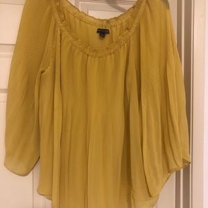 Women's Large petite mustard color blouse